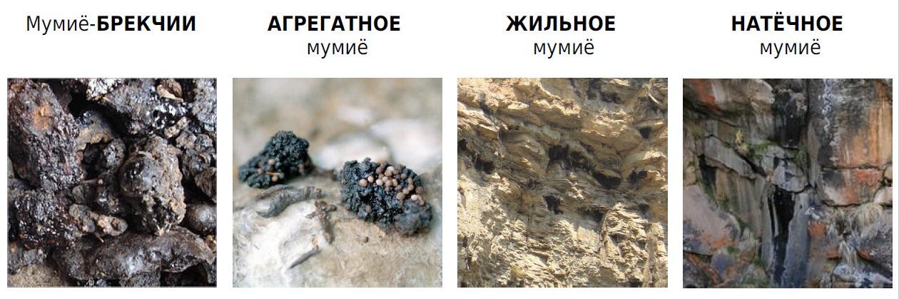 Виды мумие по агрегатному состоянию